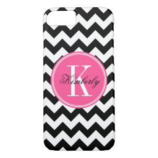 Black and White Chevron with Pink Monogram iPhone 7 Case