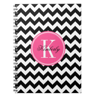 Black and White Chevron with Pink Monogram Notebook