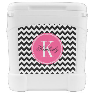 Black and White Chevron with Pink Monogram Rolling Cooler