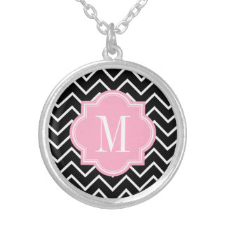 Black and White Chevron with Pink Monogram Round Pendant Necklace