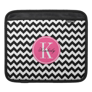Black and White Chevron with Pink Monogram Sleeve For iPads