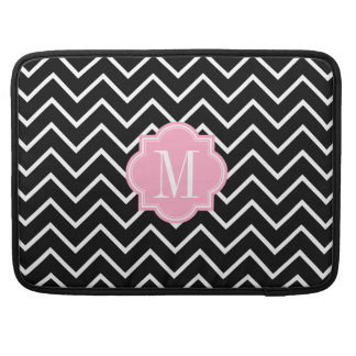 Black and White Chevron with Pink Monogram Sleeves For MacBooks