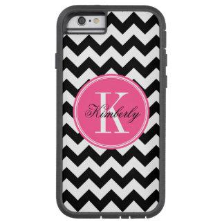Black and White Chevron with Pink Monogram Tough Xtreme iPhone 6 Case