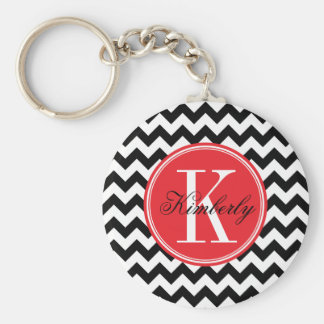 Black and White Chevron with Red Monogram Keychain