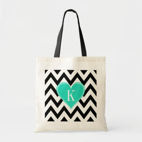 Black and White Chevron with Teal Heart Monogram Tote Bag