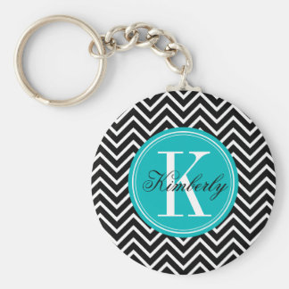 Black and White Chevron with Teal Monogram Basic Round Button Keychain