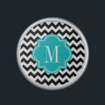 """Black and White Chevron with Teal Monogram Bluetooth Speaker<br><div class=""""desc"""">Design by Pastel Crown.</div>"""
