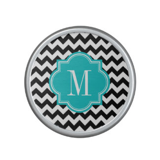 Black and White Chevron with Teal Monogram Bluetooth Speaker