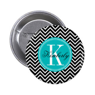 Black and White Chevron with Teal Monogram Button