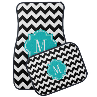 Black and White Chevron with Teal Monogram Car Mat