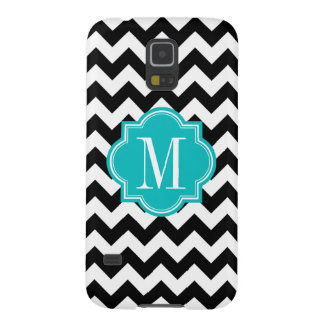 Black and White Chevron with Teal Monogram Case For Galaxy S5