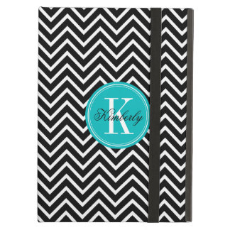Black and White Chevron with Teal Monogram iPad Air Case