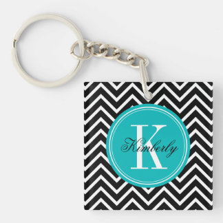 Black and White Chevron with Teal Monogram Acrylic Key Chains
