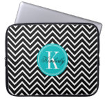 Black and White Chevron with Teal Monogram Laptop Computer Sleeves