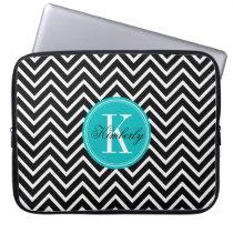 Black and White Chevron with Teal Monogram Laptop Sleeve