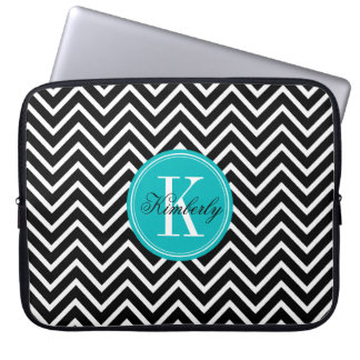 Black and White Chevron with Teal Monogram Laptop Sleeve