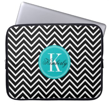Black And White Chevron With Teal Monogram Laptop Sleeve by OrganicSaturation at Zazzle