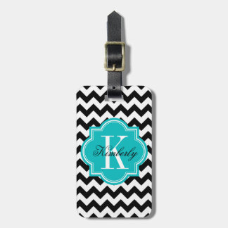 Black and White Chevron with Teal Monogram Luggage Tag