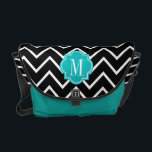 "Black and White Chevron with Teal Monogram Messenger Bag<br><div class=""desc"">Design by Pastel Crown.</div>"