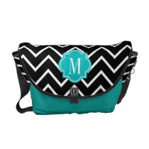 Black and White Chevron with Teal Monogram Messenger Bag