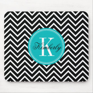 Black and White Chevron with Teal Monogram Mouse Pad