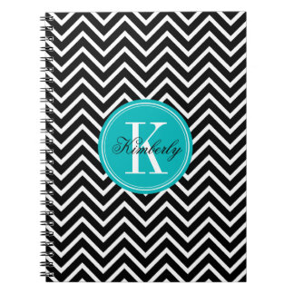 Black and White Chevron with Teal Monogram Notebook