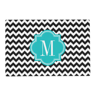 Black and White Chevron with Teal Monogram Placemat