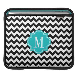 Black and White Chevron with Teal Monogram Sleeve For iPads