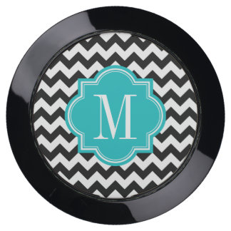 Black and White Chevron with Teal Monogram USB Charging Station