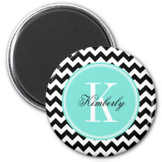 Black and White Chevron with Turquoise Monogram 2 Inch Round Magnet