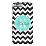 Black and White Chevron with Turquoise Monogram Barely There iPhone 6 Case
