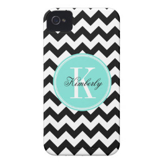 Black and White Chevron with Turquoise Monogram iPhone 4 Covers