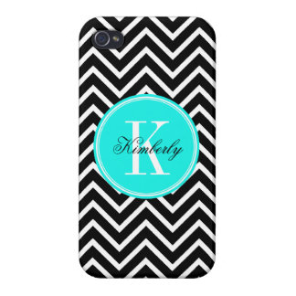 Black and White Chevron with Turquoise Monogram Cases For iPhone 4