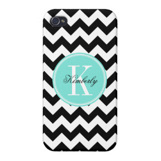 Black and White Chevron with Turquoise Monogram iPhone 4/4S Cover