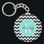 "Black and White Chevron with Turquoise Monogram Keychain<br><div class=""desc"">Design by Pastel Crown.</div>"