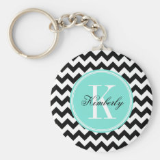 Black And White Chevron With Turquoise Monogram Keychain at Zazzle