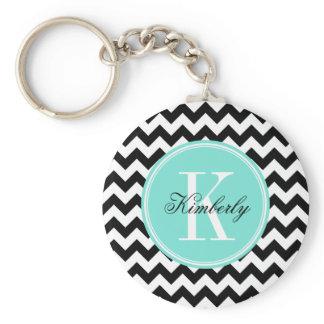 Black and White Chevron with Turquoise Monogram Keychain