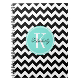 Black and White Chevron with Turquoise Monogram Notebook