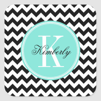 Black and White Chevron with Turquoise Monogram Square Sticker