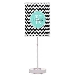 Black and White Chevron with Turquoise Monogram Table Lamp