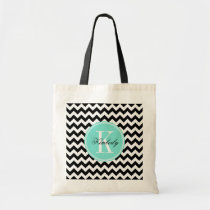 Black and White Chevron with Turquoise Monogram Tote Bag