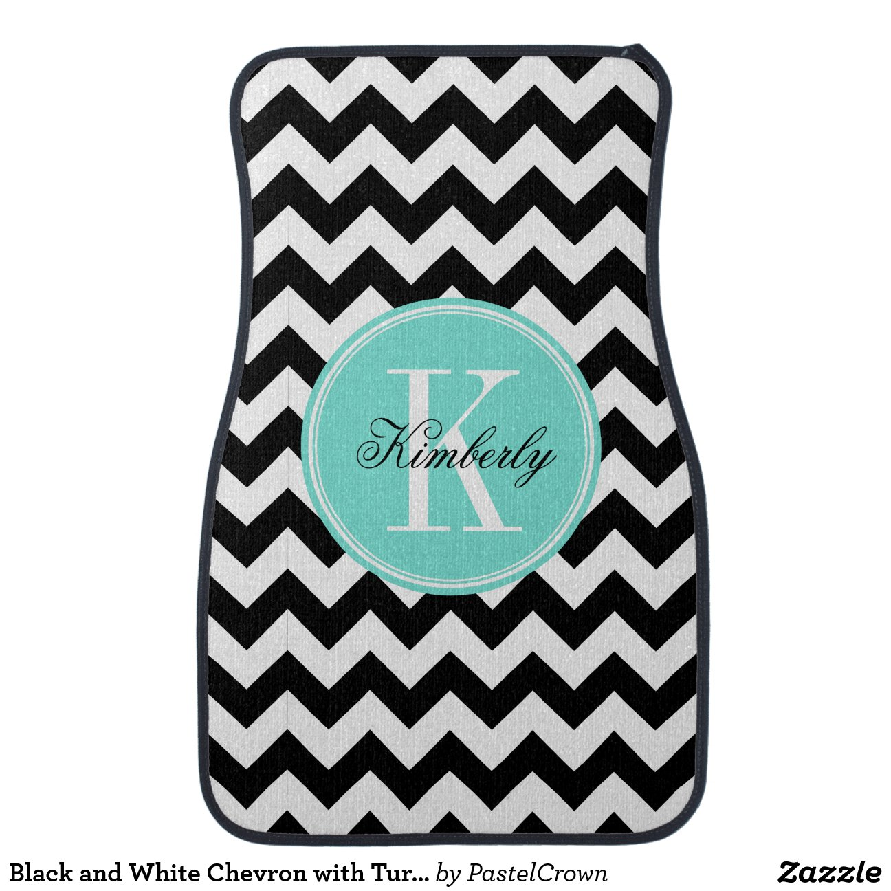 Black And White Chevron With Turquoise Monogram Floor Mat