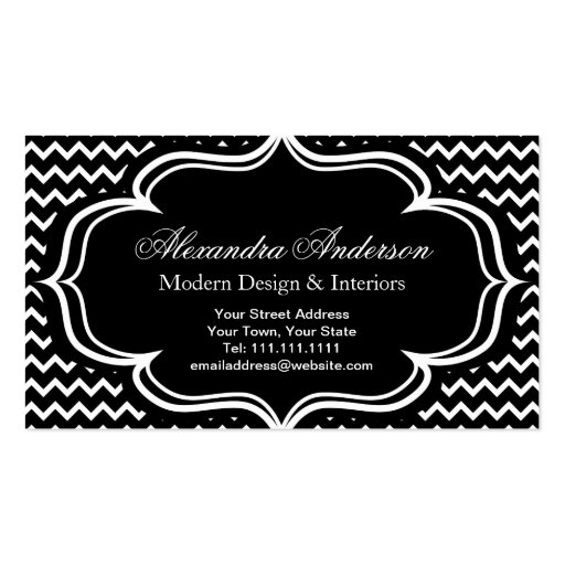 Black and White Chevron Zig Zag Elegant Monogram A Business Card Template