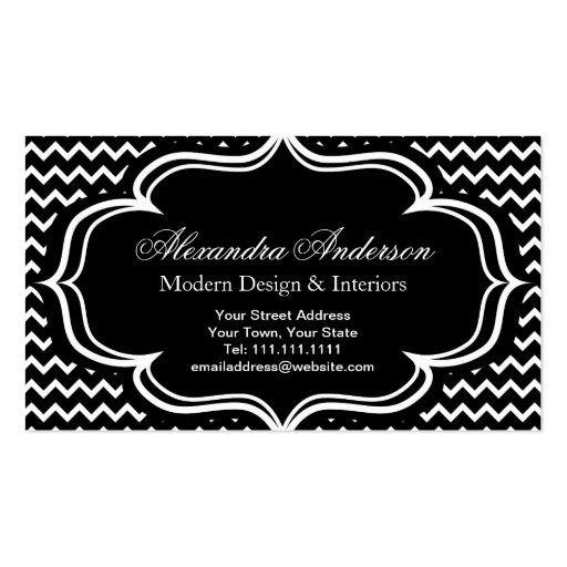 Black and White Chevron Zig Zag Elegant Monogram A Business Card Template
