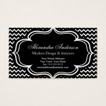Black and White Chevron Zig Zag Elegant Monogram A Business Card