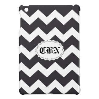 Black and white chevron zig zag pattern iPad mini cover