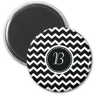 Black and White Chevron Zig Zag Retro Elegance 2 Inch Round Magnet