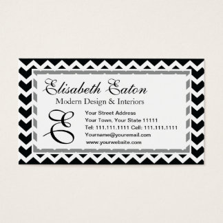 Black and White Chevron Zig Zag Retro Elegance Business Card