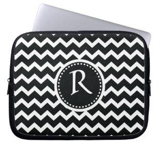 Black and White Chevron Zig Zag Retro Elegance Computer Sleeve