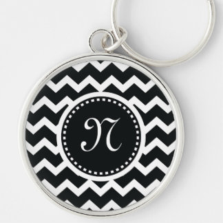Black and White Chevron Zig Zag Retro Elegance Keychain